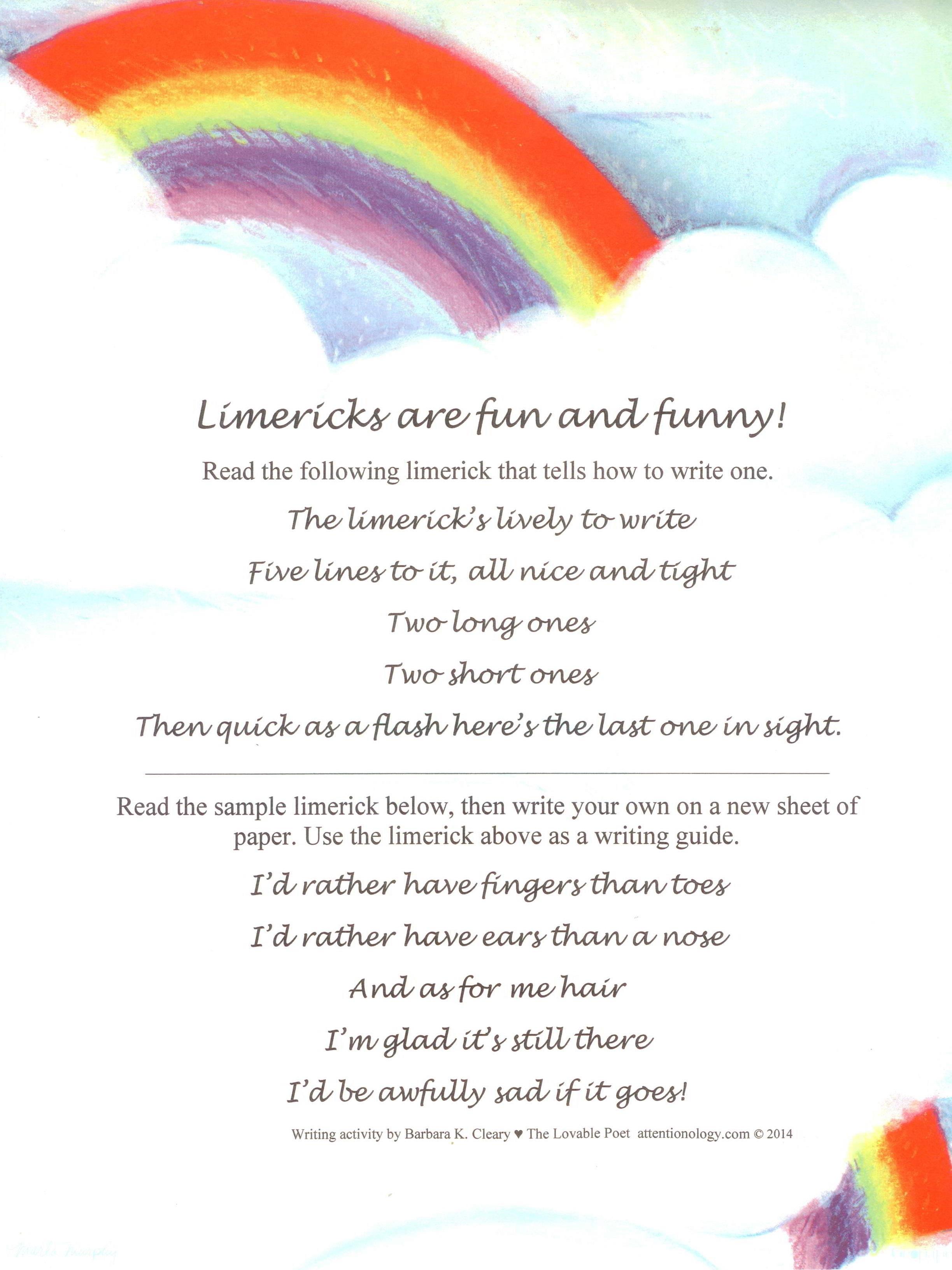 Writing Limericks For Elementary Students