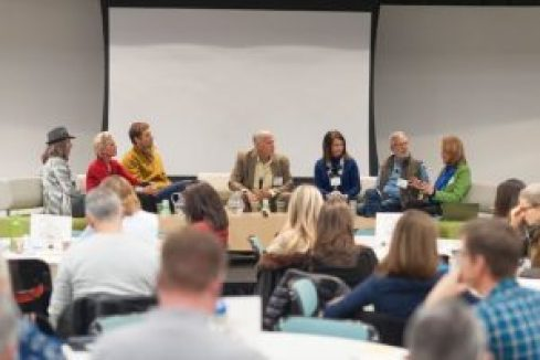 'Building a Path to Regenerative Food & Farming' panel with Phil Graves of Patagonia, Tom Newmark of Carbon Underground, Daniela Ibarra-Howell of Savory Institute, Timothy LaSalle of Regenerative Agriculture Institute, Alisa Gravitz of Green America and Elizabeth Candelario of Demeter USA