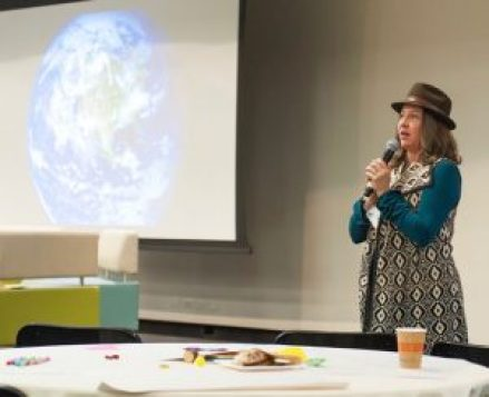 Seleyn DeYarus, co-founder of At the Epicenter, facilitating a sold out Regenerative Earth Summit: Food + Climate + Culture.