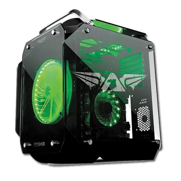 boitier pc en verre armaggeddon hagane h 3 vert led fan