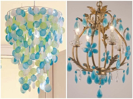 Turquoise Chandeliers Blue Crystal Flower By Maura Daniel And Capiz Shell Via Atticmag