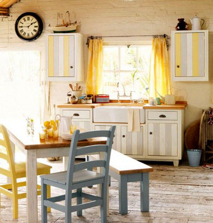 gray and white striped cottage kitchen sink base with yellow grey and white striped upper cabinets - John Lewis of Hungerford via Atticmag