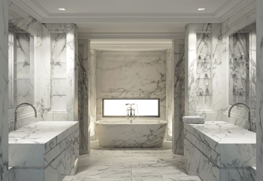 white marble bathrooms - atticmag