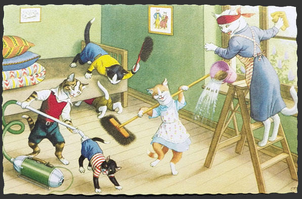 Image result for old postcards of cats cleaning