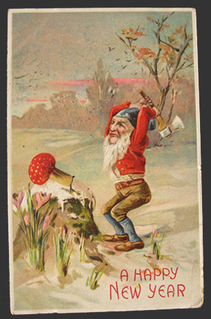 Gnome Chops Down Toadstool Vintage New Year Postcard  Vintage     Gnome Chops Down Toadstool Vintage New Year Postcard