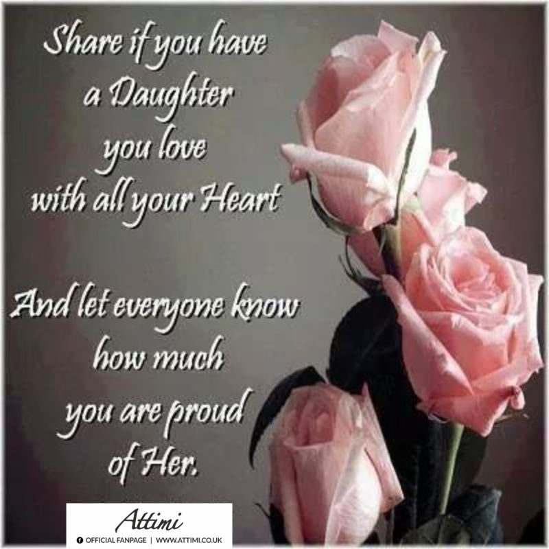 Share if you have a daughter youlove with all your Heart And let everyone know how much you are proud of Her.