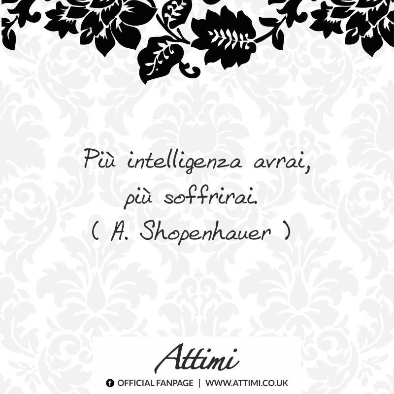 Più intelligenza avrai, più soffrirai. ( A. Shopenhauer )