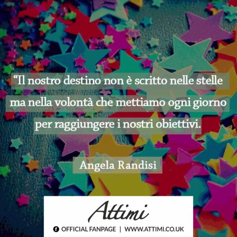 il nostro destino non è scritto nelle stelle ma nella volontà che ci mettiamo ogni giorno per raggiungere i nostri obiettivi. ( Angela Randisi )