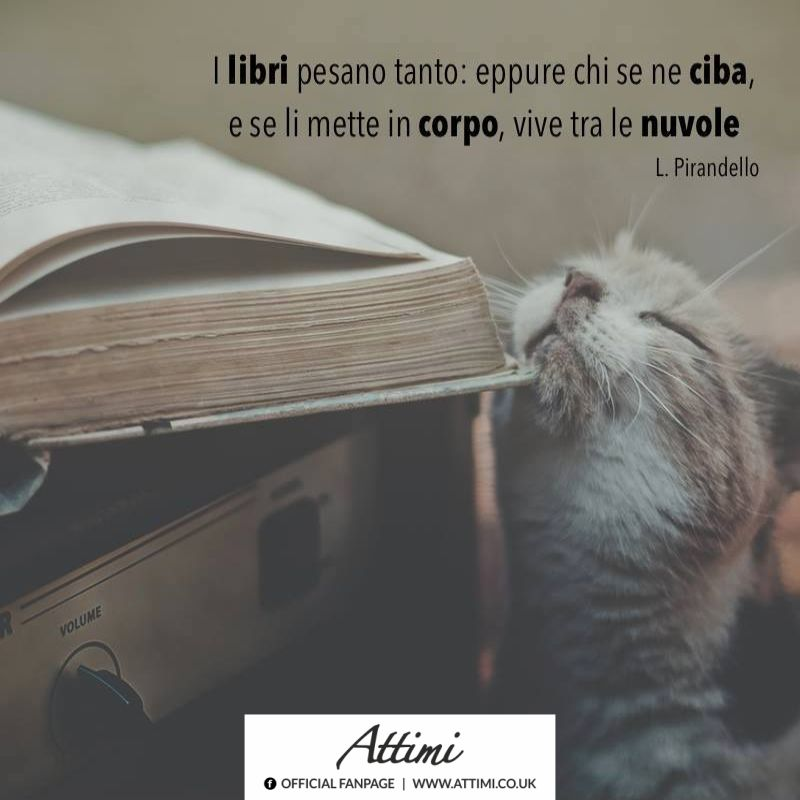 I libri pesano tanto eppure chi se ne ciba, e se li mette in corpo, vive tra le nuvole. ( L. Pirandello )