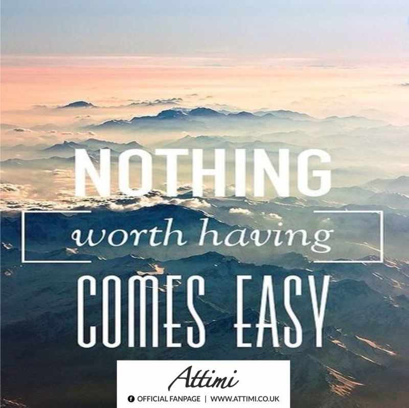 Nothing ( worth having ) Comes easy.