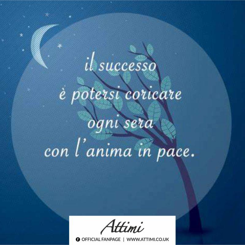Il successo è potersi coricare ogni sera con l'anima in pace.