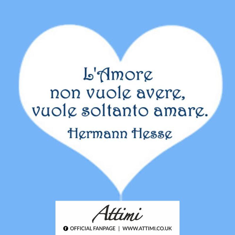 L'amore non vuole avere , vuole soltanto amare. (Hermann Hesse)