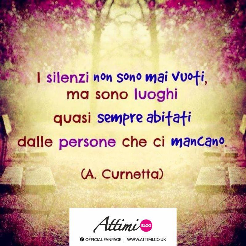 I silenzi non sono mai vuoti, ma sono luoghi quasi sempre abitati dalle persone che ci mancano. (A. Curnetta)