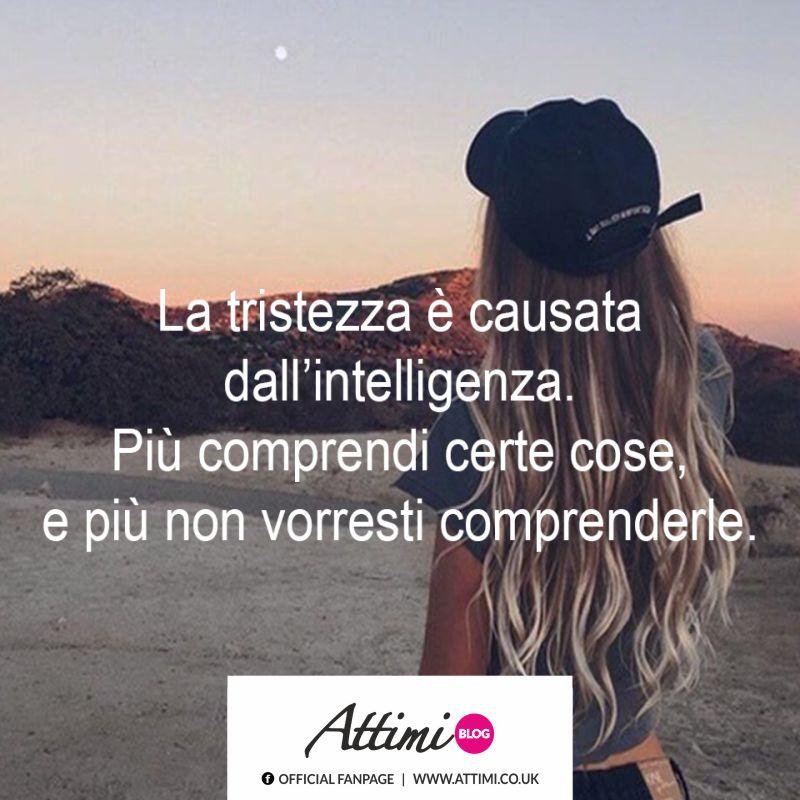 La tristezza è causata dall' intelligenza. Più comprendi certe cose, e più non vorresti comprenderli.