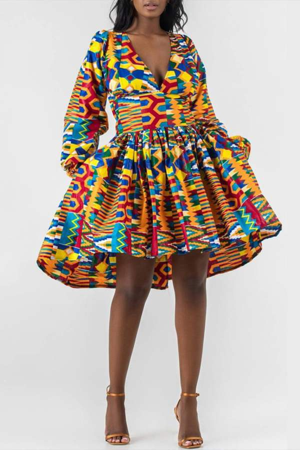 Kente Print African dress | V-Neck Midi Dress | OPE