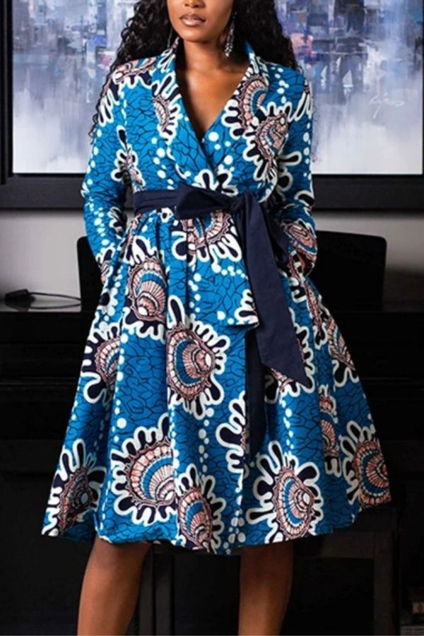 African Print Dress | Wrap Tie Midi Dress | OLABI