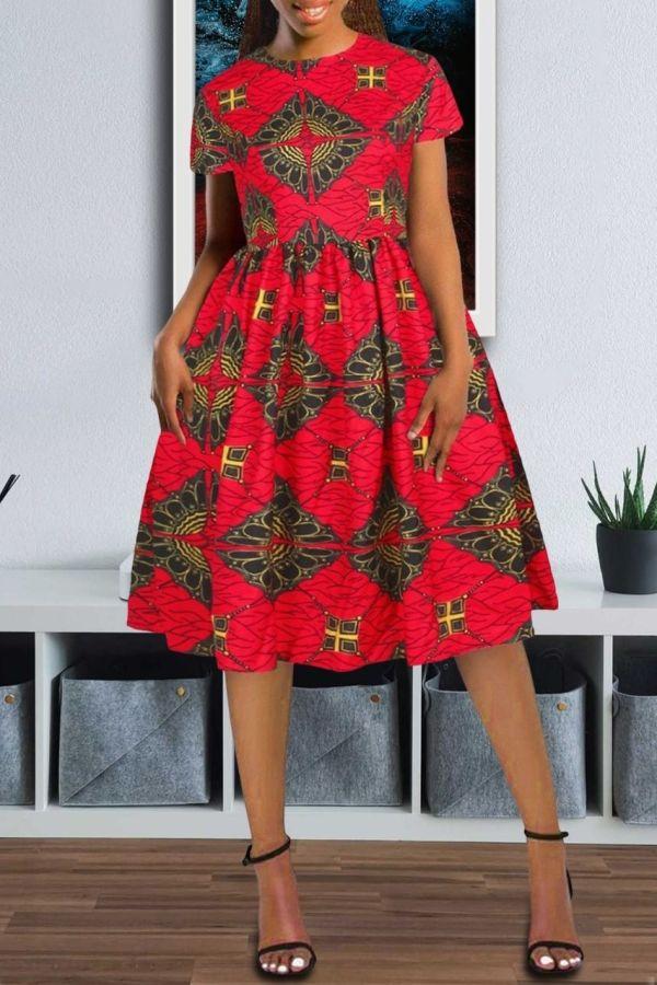 African Print Dress | Flare Midi Dress | Kay (Red)