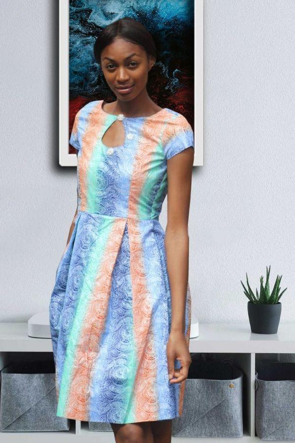 Ankara African Print Dress | Peplum Midi dress | LOLA