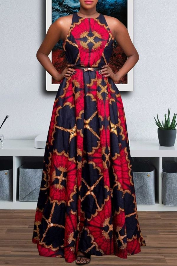 Ankara Print Dress | Flare Sleeveless Maxi Dress | LOLA