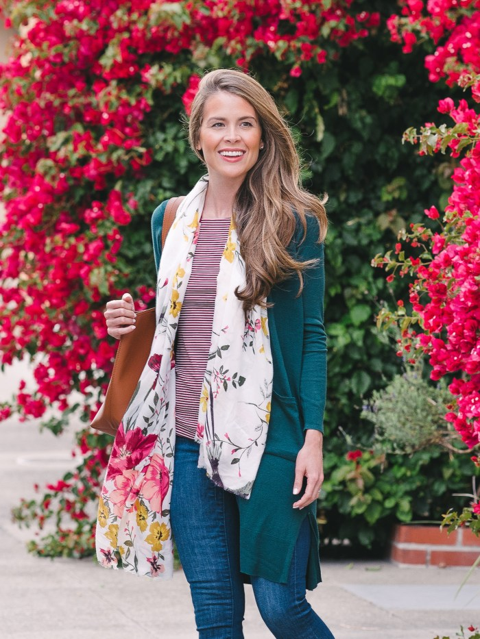 old navy, old navy floral scarf, green cardigan, old navy denim