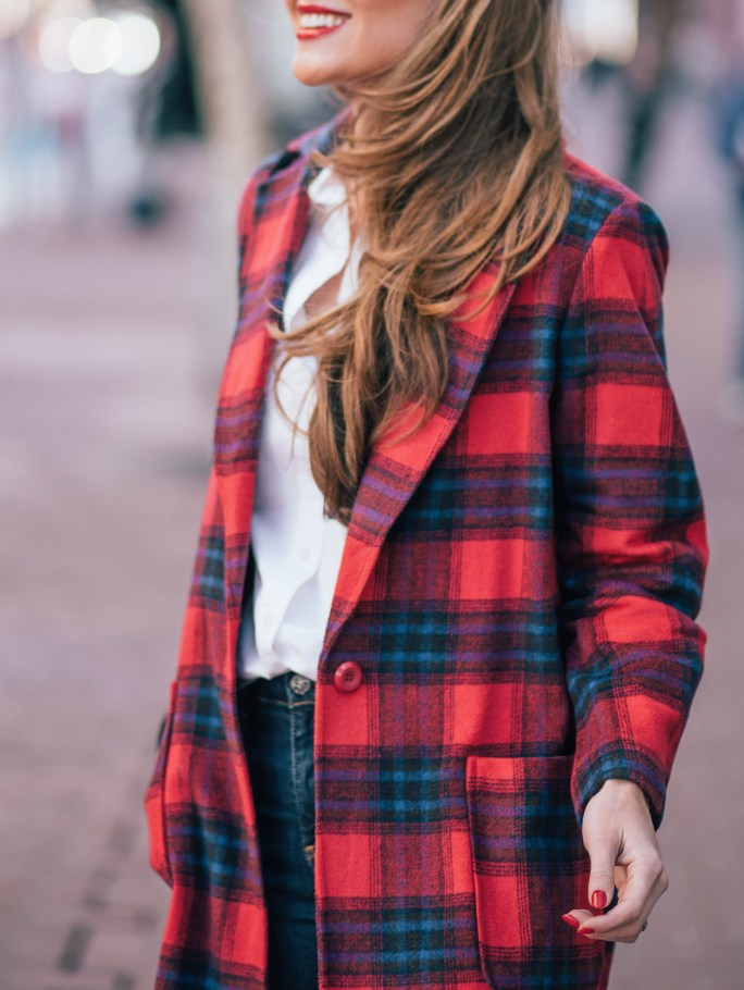 leith plaid coat, red plaid coat, nordstrom plaid coat, megan yazdani, attention to detail, attn to detail