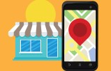 Store front and smart phone with local search marker