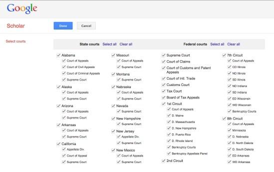 Google Scholar Court Selection