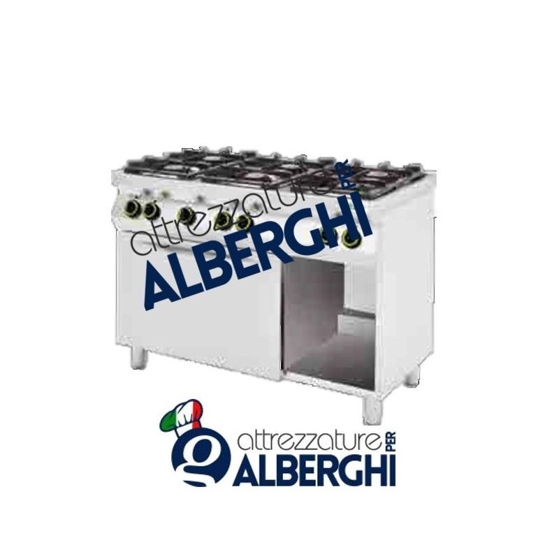 Cucina A Gas 6 Fuochi Con Forno Elettrico Vano A Giorno Dim 1200x700x900h Mm Professionale