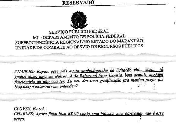 Investigado comemora superfaturamento em valor cobrado por biópsia na rede pública de saúde de Balsas, comandada pelo prefeito Rochinha, irmão do senador maranhense