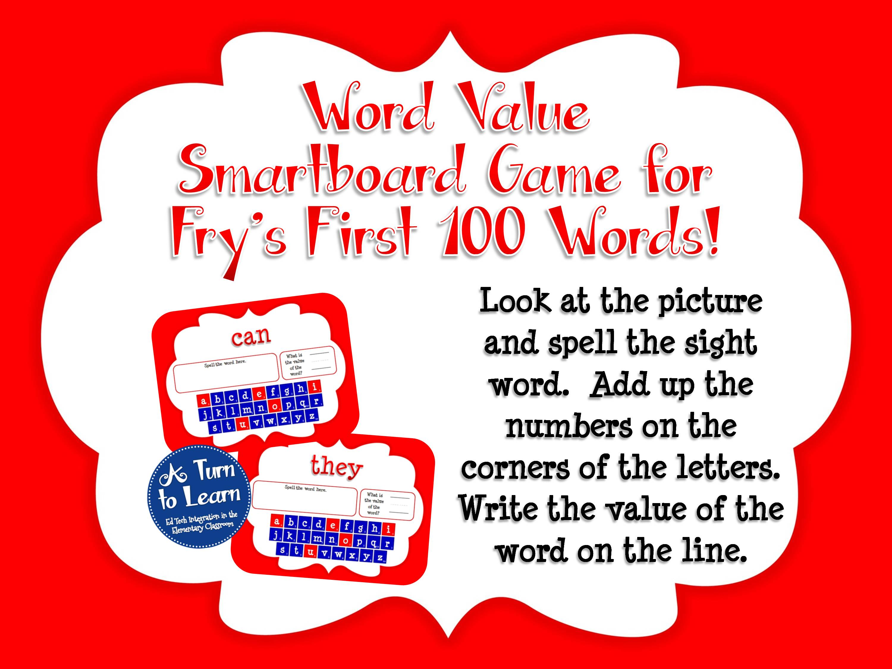 Sight Words Smartboard Games That Incorporate Addition A