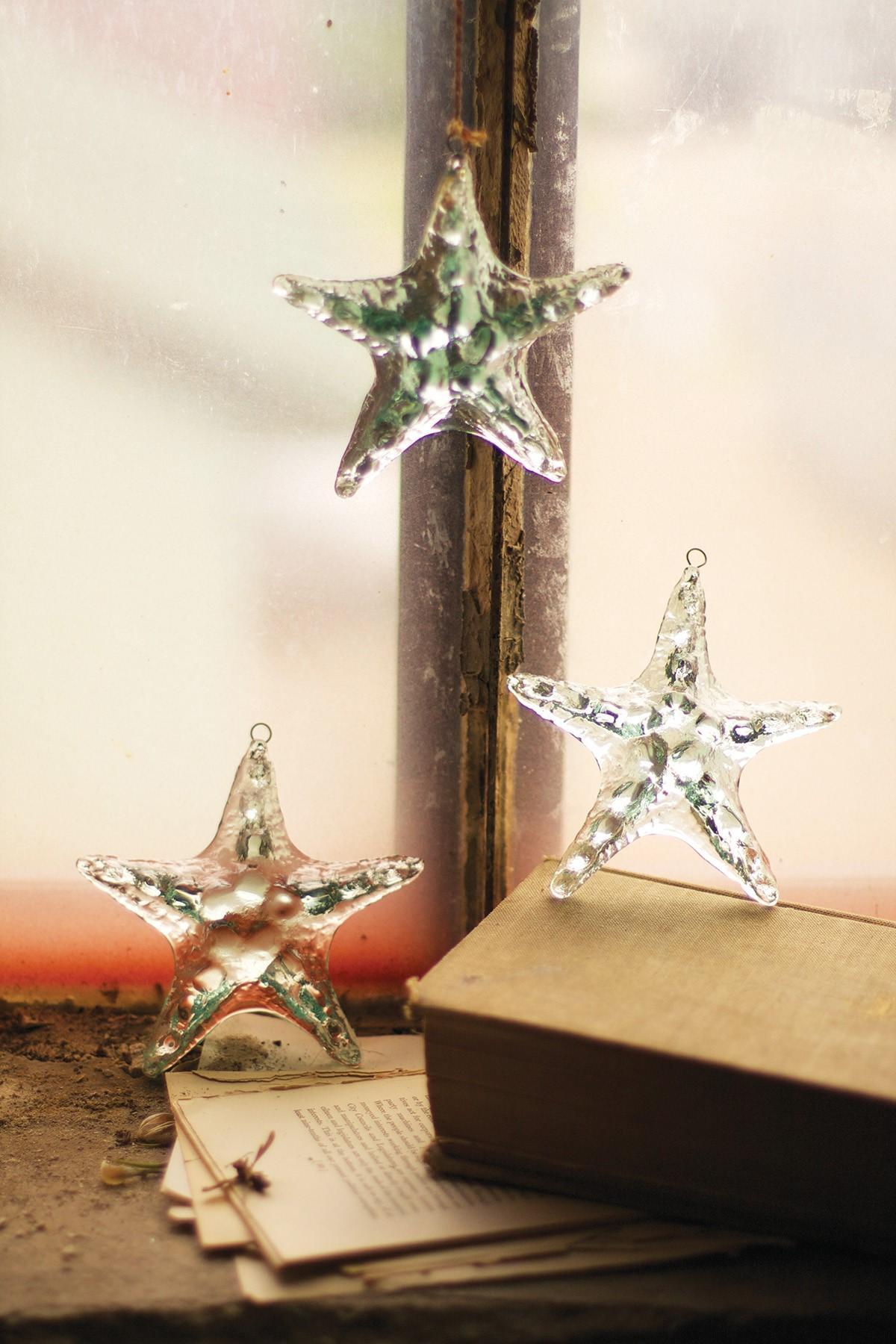 Recycled Hanging Glass Starfish Starfish Suncatcher