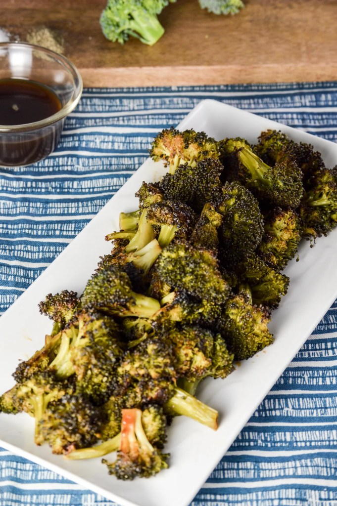"Dish of ""Blackened"" Broccoli with Coconut Amino"