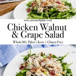 """Pinterest image for Chicken Walnut and Grape Salad. Top view of Chicken Walnut and Grape Salad in a Green Bowl atop a wood backdrop. There is a blue and white towel along the top with Grapes and Walnuts along the wood background. Below there is a Red Text Box saying """"Chicken Walnut and Grape Salad"""" in white script. Angle view of Chicken Walnut and Grape Salad in a Green Bowl atop a wood backdrop. Grapes and Walnuts along the wood background. https://www.atwistedplate.com/chicken-walnut-and-grape-salad/"""