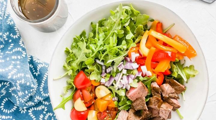 Steak & Arugula Salad w/ Basil Balsamic Dressing