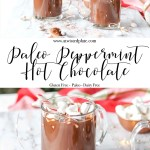 """Pinterest Image for Paleo Peppermint Hot Chocolate. Top image is of two glasses of Paleo Peppermint Hot Chocolate topped with marshmallows and candy cane. There is a Christmas tree and red towel in the background. Below is a white text post stating """"Paleo Peppermint Hot Chocolate"""" Bottom mage is of a glass of Paleo Peppermint Hot Chocolate topped with marshmallows and candy cane. There is a Christmas tree and red towel in the background. www.atwistedplate.com/paleo-peppermint-hot-chocolate/"""