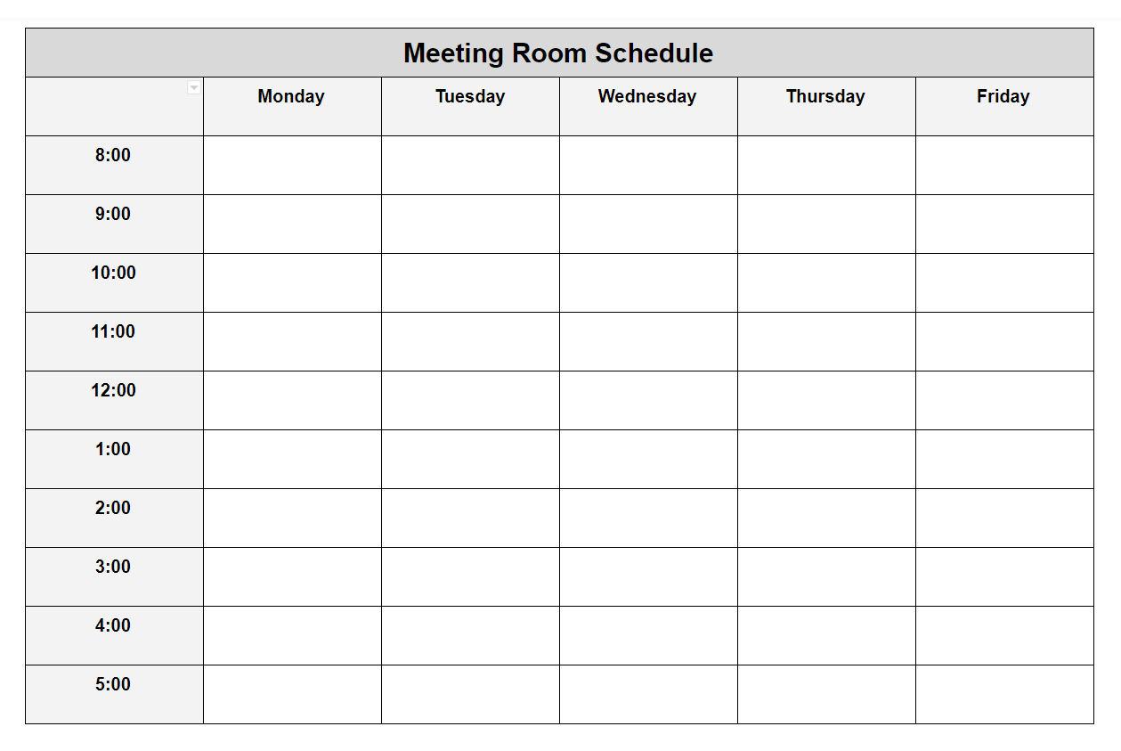 Weekly Meeting Room Schedule Template