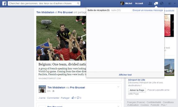 voir ses messages sur facebook avec la version mobile