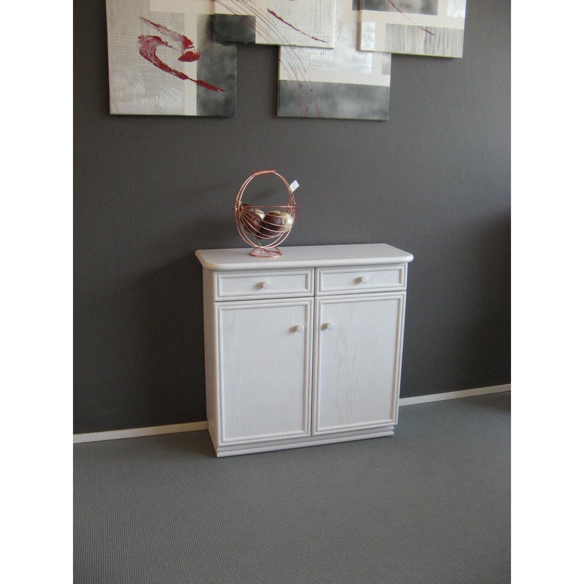 meuble zante 87x34 2 portes et 2 tiroirs blanc