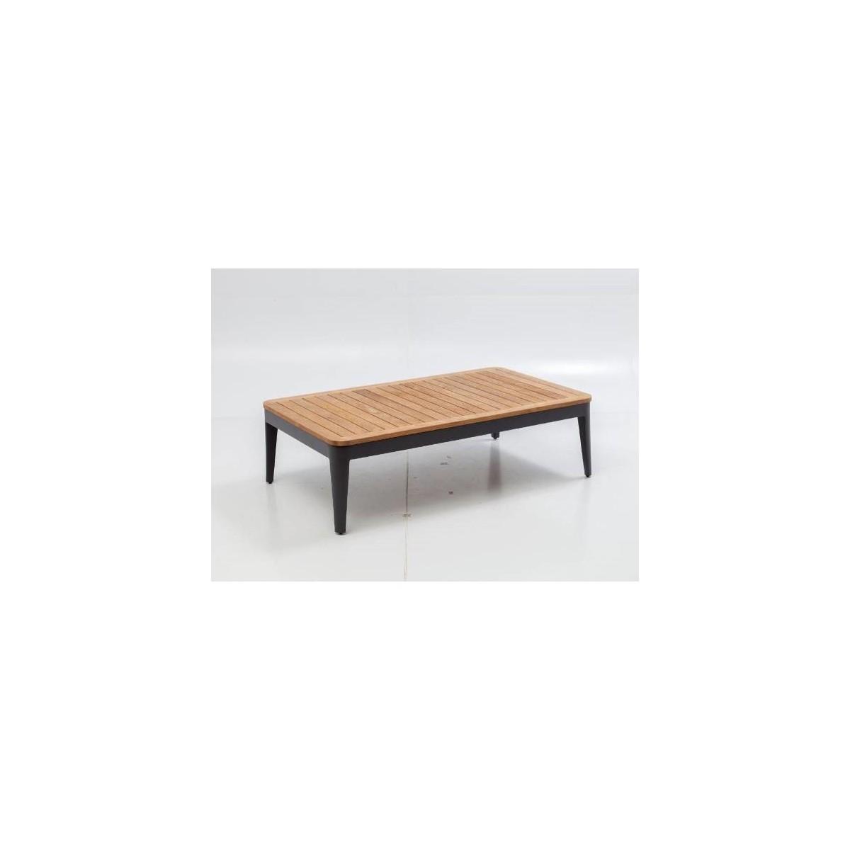 table basse clavo special exterieur aluminium et teck