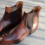 La bottine à élastique whole cut Chelsea boot Matt en cuir marron
