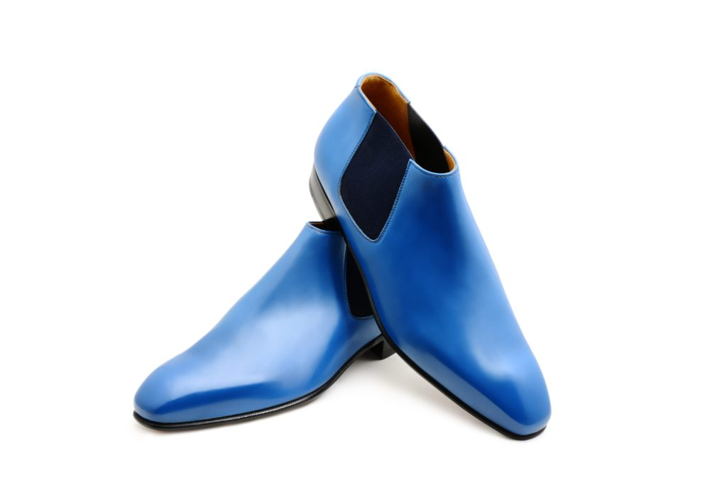 La bottine basse Grant en cuir bleu de France