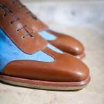Le sneaker Aubercy en toile jeans et cuir marron moyen