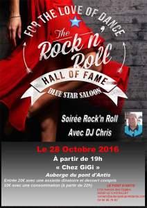 Affiche de la soirée Rock n'roll du 28 octobre 2016