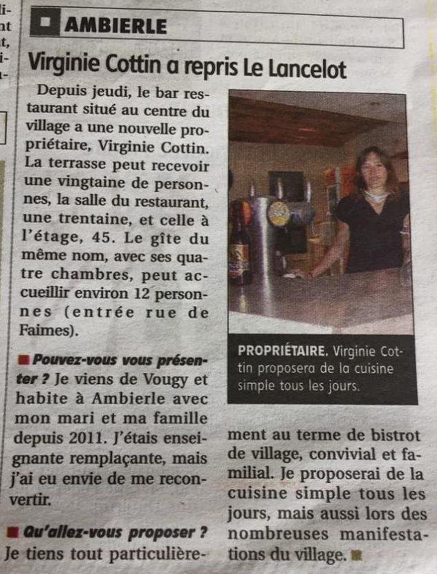 Virginie Cottin reprend le Lancelot à Ambierle