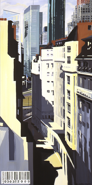 Peinture de Paris la Défense par Michelle Auboiron