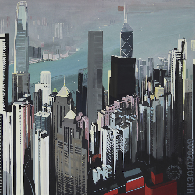 Peinture de Hong Kong par Michelle AUBOIRON - The peak