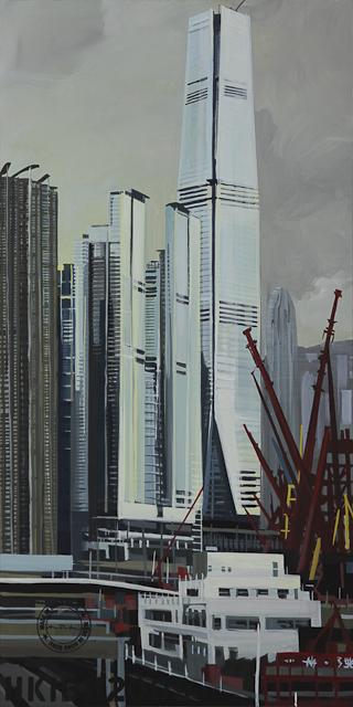 Peinture de l'International Commercial Center - Hong Kong - par Michelle Auboiron