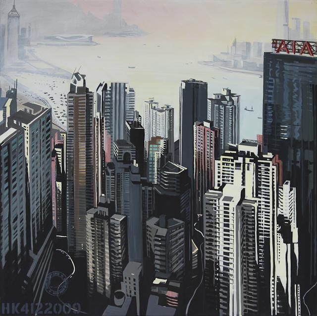 Tableau de Victoria Harbour - Hong Kong - par Michelle Auboiron