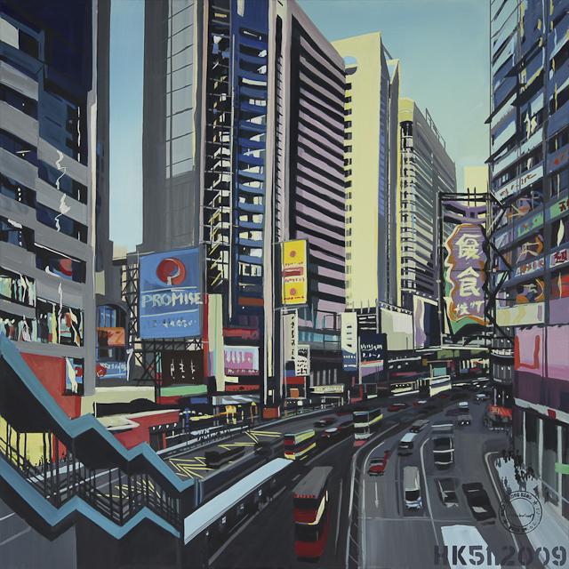 Peinture - acrylique sur toile - de Causeway Bay - Hong Kong - par Michelle Auboiron