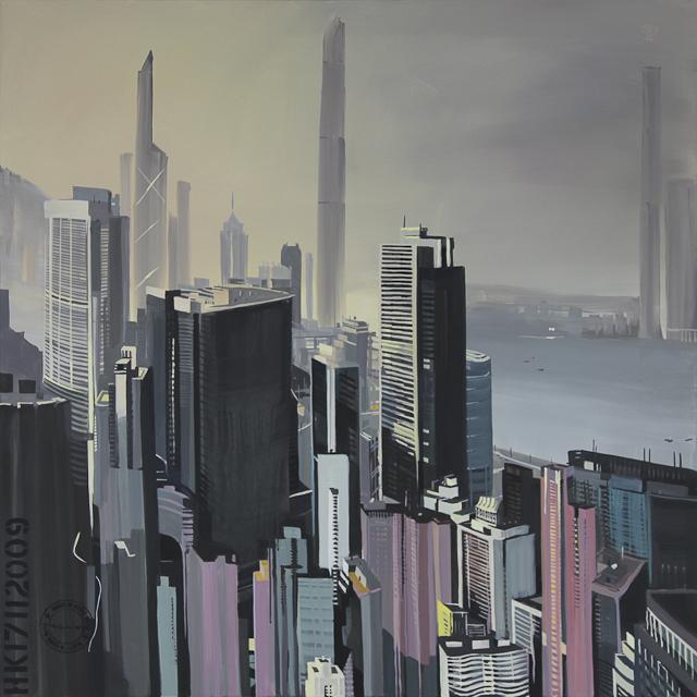 Peinture de Hong Kong Central depuis Bowen road par Michelle Auboiron
